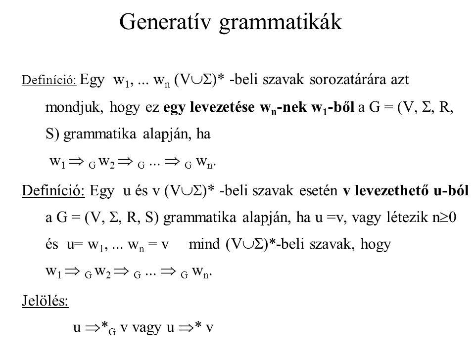 Generatív grammatikák Definíció: A G = (V, , R, S) grammatika generálja az L   * nyelvet, ha L =  w   *  S  * w  Jelölés: L(G) a G grammatika által generált nyelv.