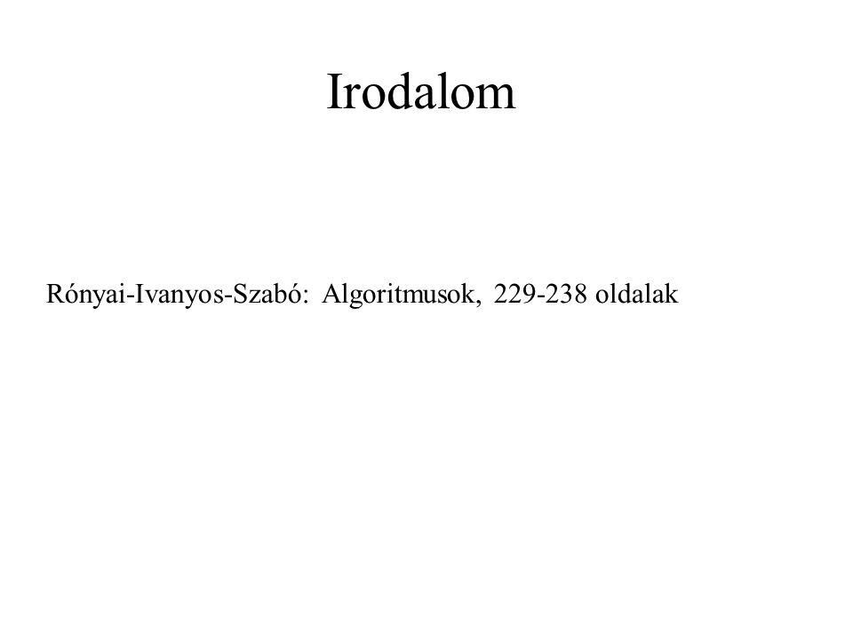 Irodalom Rónyai-Ivanyos-Szabó: Algoritmusok, 229-238 oldalak