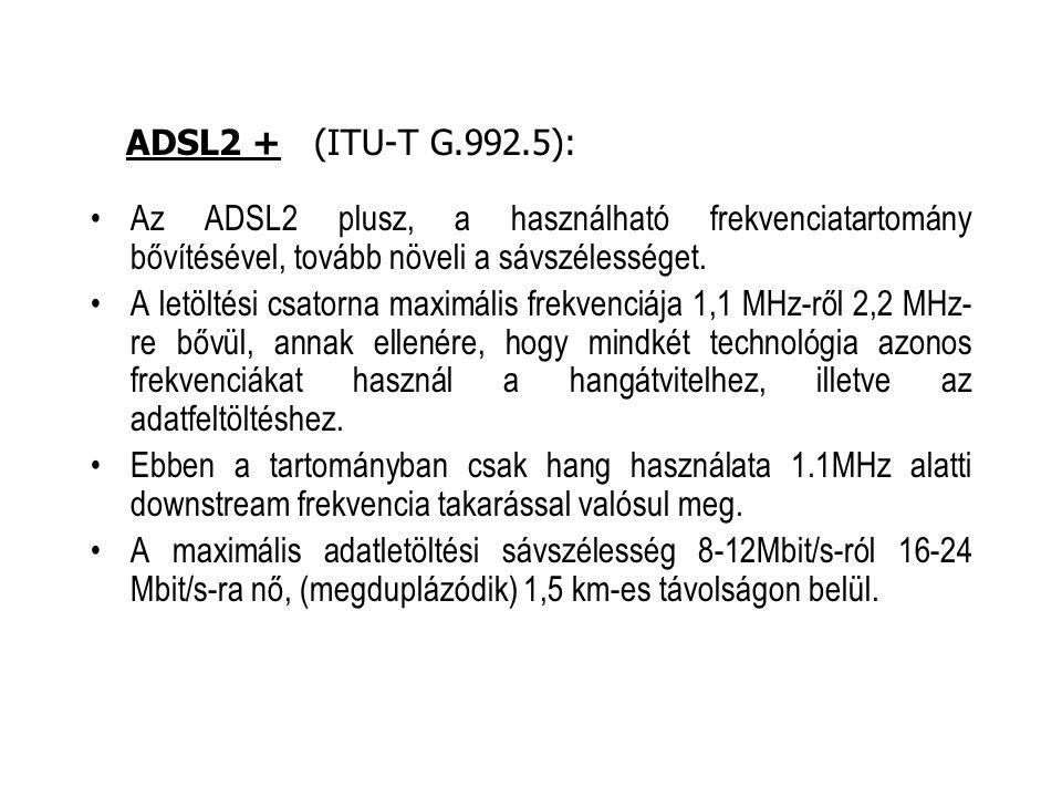 Az ADSL2 plusz, a használható frekvenciatartomány bővítésével, tovább növeli a sávszélességet. A letöltési csatorna maximális frekvenciája 1,1 MHz-ről