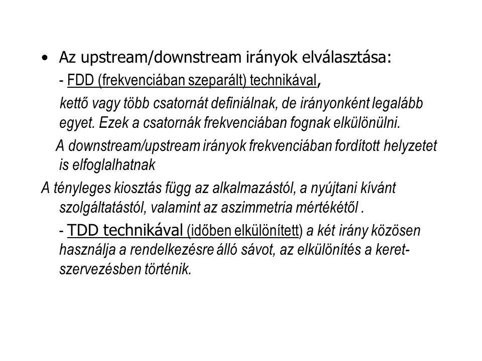 Az upstream/downstream irányok elválasztása: - FDD (frekvenciában szeparált) technikával, kettő vagy több csatornát definiálnak, de irányonként legalá