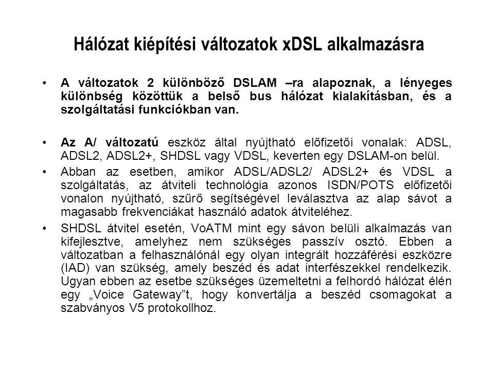 Hálózat kiépítési változatok xDSL alkalmazásra A változatok 2 különböző DSLAM –ra alapoznak, a lényeges különbség közöttük a belső bus hálózat kialakí