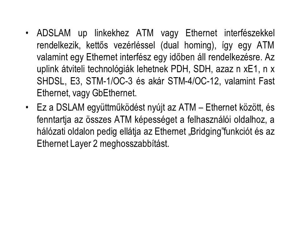 ADSLAM up linkekhez ATM vagy Ethernet interfészekkel rendelkezik, kettős vezérléssel (dual homing), így egy ATM valamint egy Ethernet interfész egy id