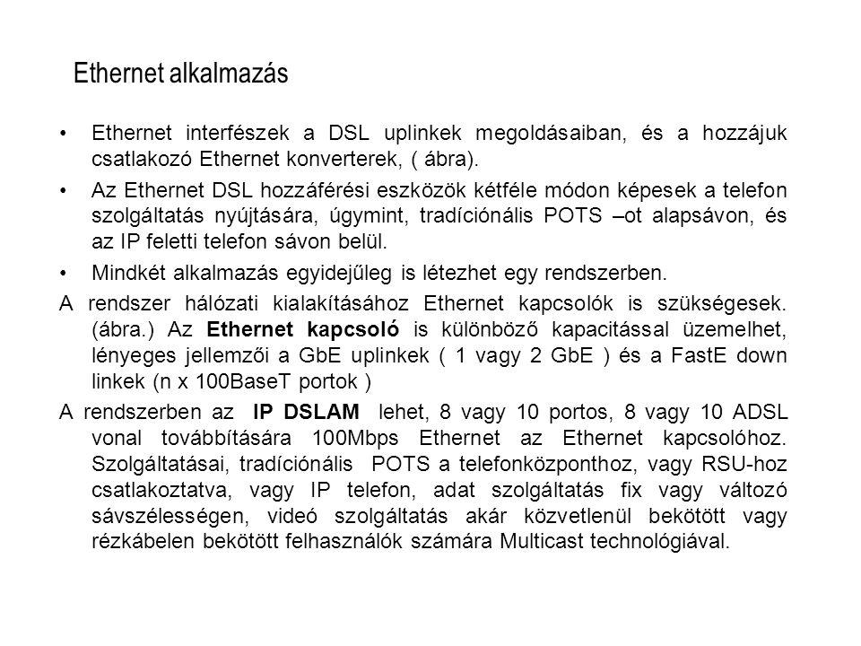 Ethernet alkalmazás Ethernet interfészek a DSL uplinkek megoldásaiban, és a hozzájuk csatlakozó Ethernet konverterek, ( ábra). Az Ethernet DSL hozzáfé