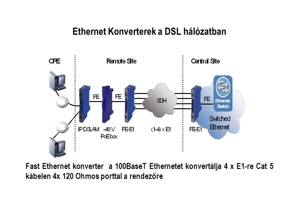 Ethernet Konverterek a DSL hálózatban Fast Ethernet konverter a 100BaseT Ethernetet konvertálja 4 x E1-re Cat 5 kábelen 4x 120 Ohmos porttal a rendezőre