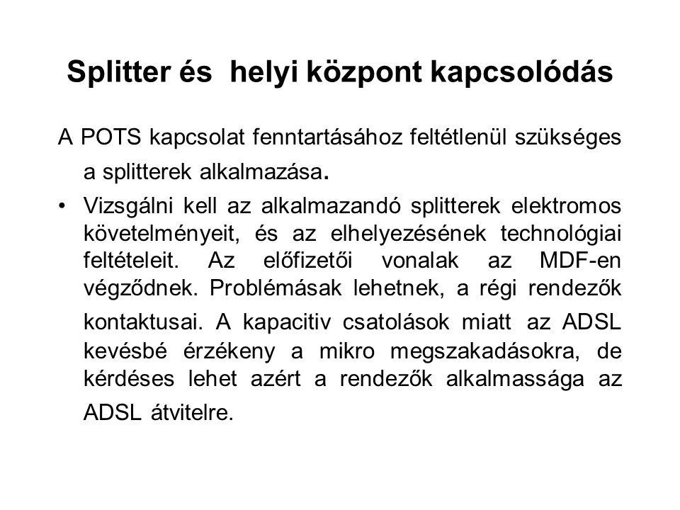 Splitter és helyi központ kapcsolódás A POTS kapcsolat fenntartásához feltétlenül szükséges a splitterek alkalmazása.