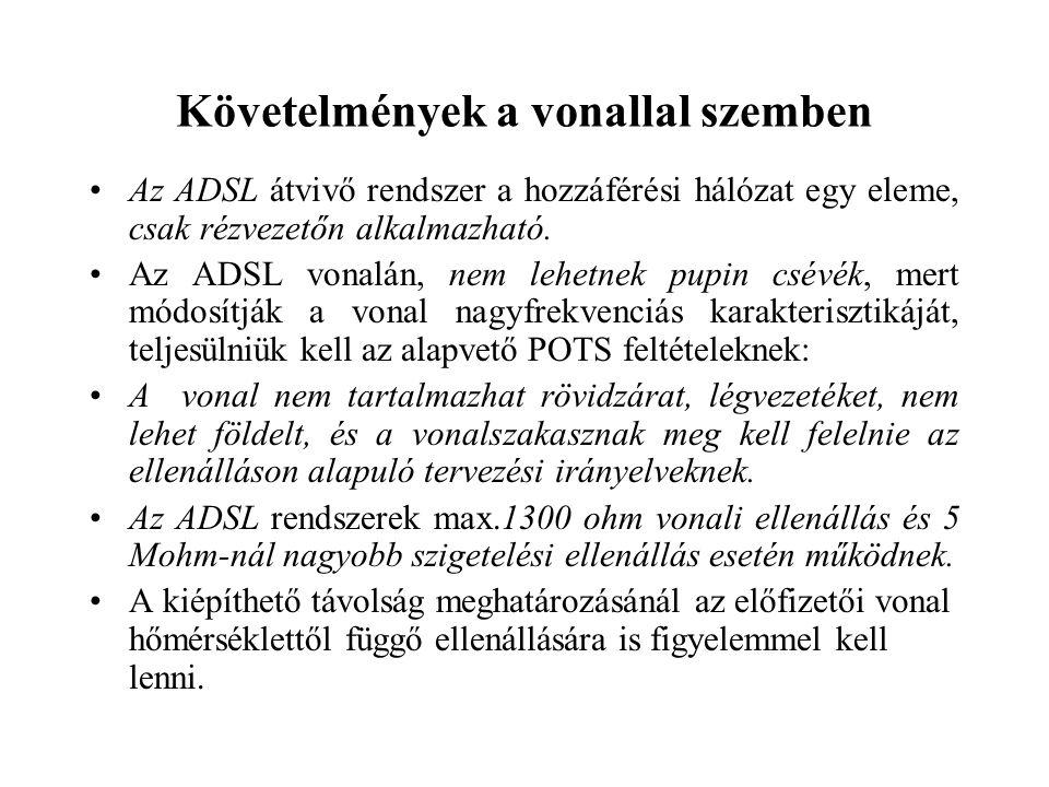 Követelmények a vonallal szemben Az ADSL átvivő rendszer a hozzáférési hálózat egy eleme, csak rézvezetőn alkalmazható. Az ADSL vonalán, nem lehetnek