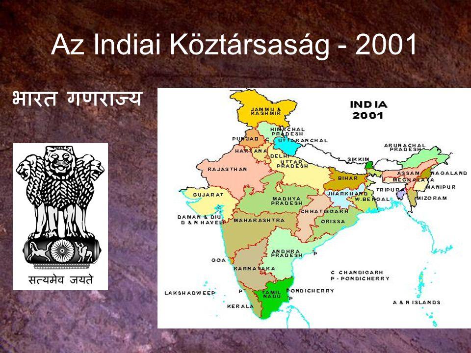 INDIA TÖRTÉNETE India területe: 3,3 millió km 2 1947: kivált Pakisztán nyugati és keleti része, előtte a felosztatlan India majdnem 700.000 km 2 -el nagyobb volt.