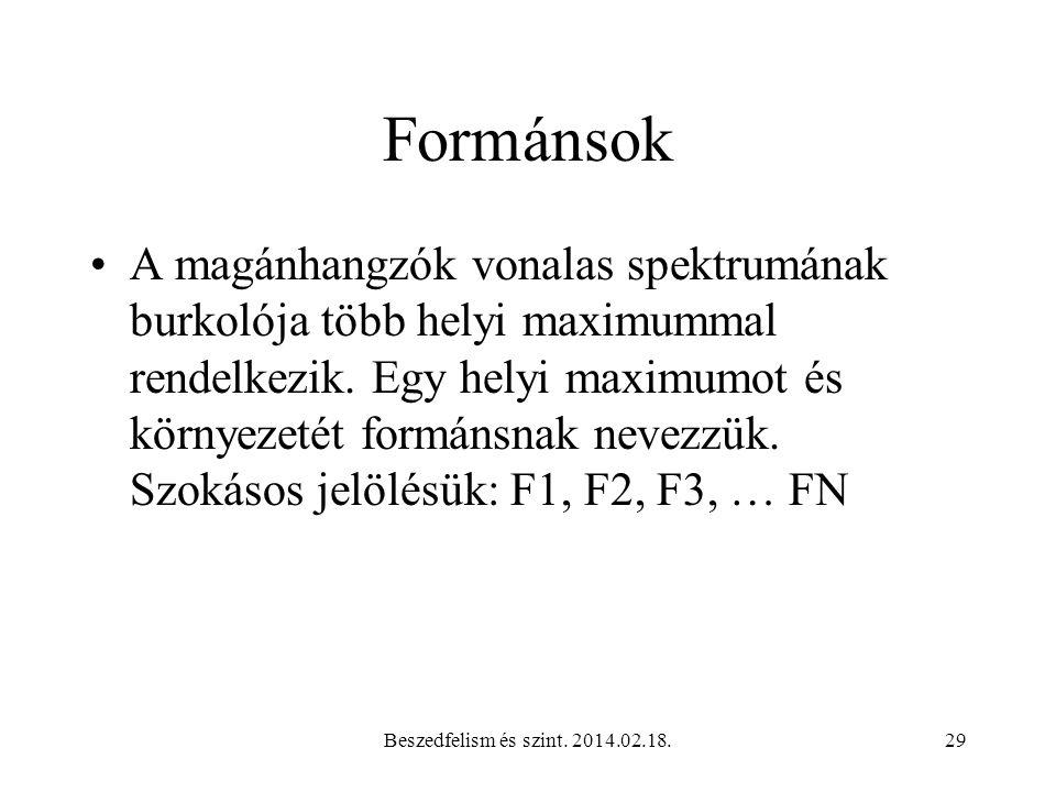 Beszedfelism és szint. 2014.02.18.30 Magyar magánhangzók első és második formáns frekvenciái