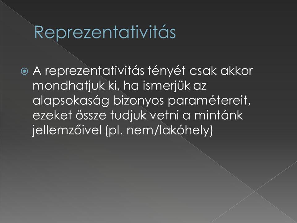  A reprezentativitás tényét csak akkor mondhatjuk ki, ha ismerjük az alapsokaság bizonyos paramétereit, ezeket össze tudjuk vetni a mintánk jellemzői