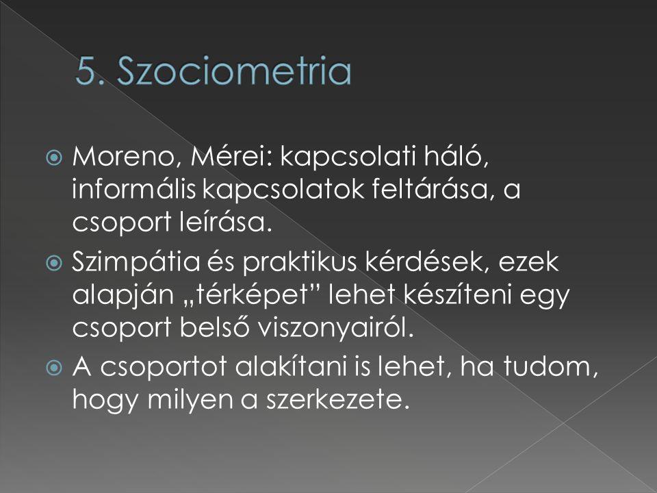 """ Moreno, Mérei: kapcsolati háló, informális kapcsolatok feltárása, a csoport leírása.  Szimpátia és praktikus kérdések, ezek alapján """"térképet"""" lehe"""