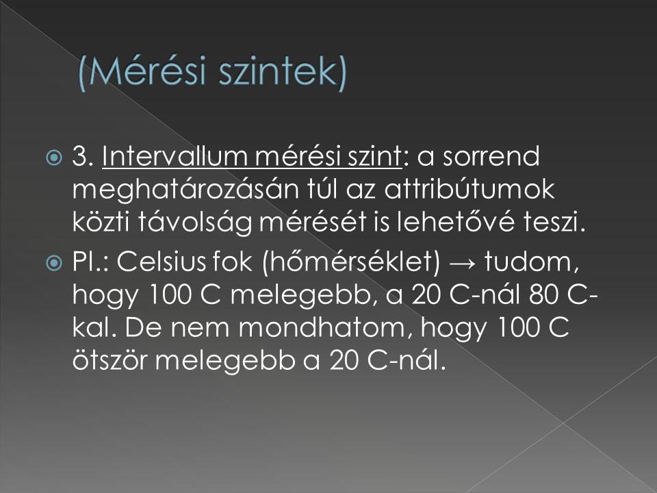  3. Intervallum mérési szint: a sorrend meghatározásán túl az attribútumok közti távolság mérését is lehetővé teszi.  Pl.: Celsius fok (hőmérséklet)
