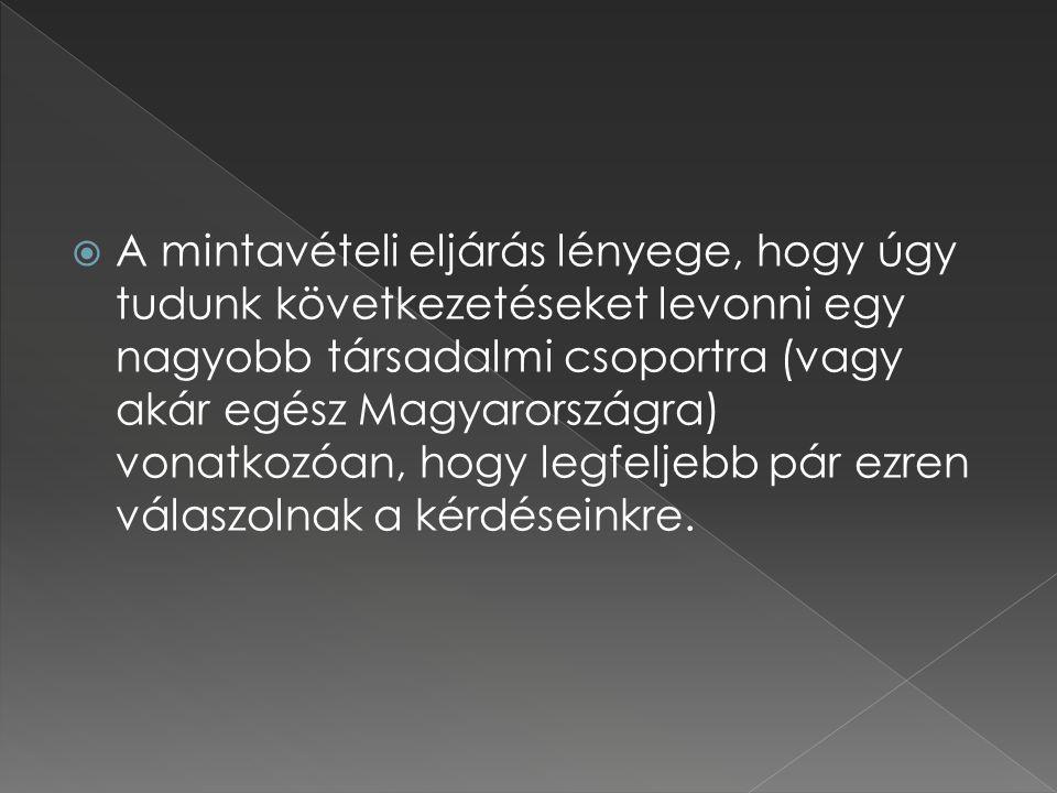  A mintavételi eljárás lényege, hogy úgy tudunk következetéseket levonni egy nagyobb társadalmi csoportra (vagy akár egész Magyarországra) vonatkozóa