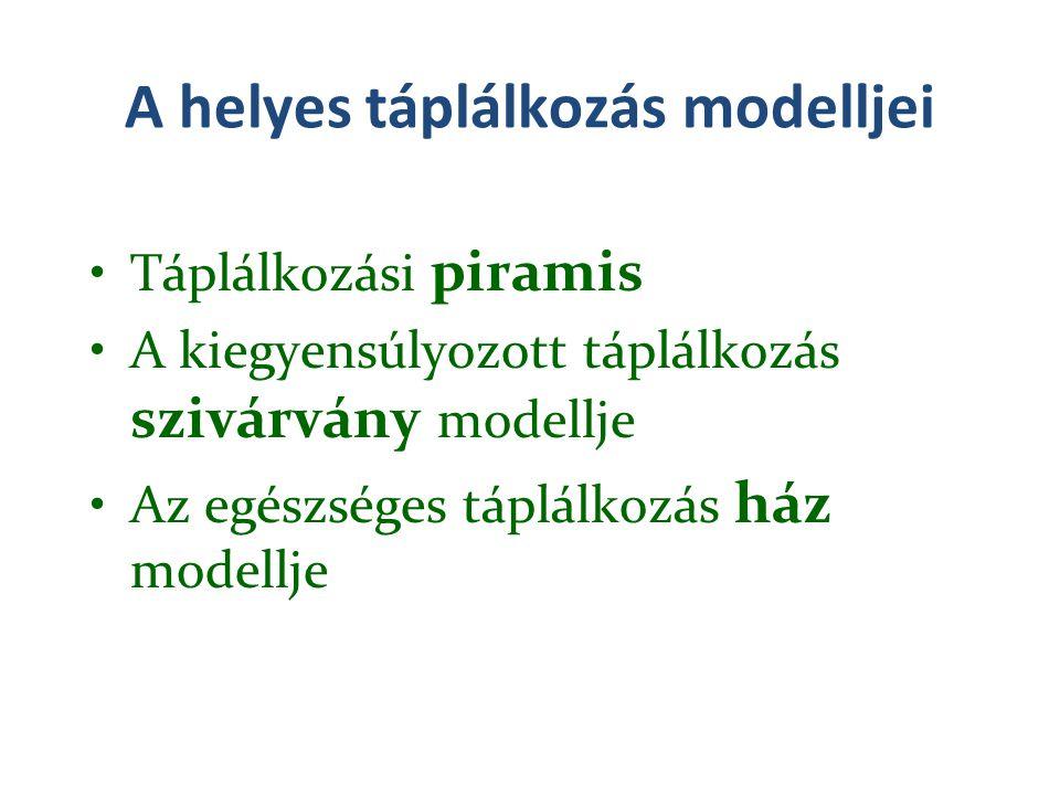 A helyes táplálkozás modelljei Táplálkozási piramis A kiegyensúlyozott táplálkozás szivárvány modellje Az egészséges táplálkozás ház modellje