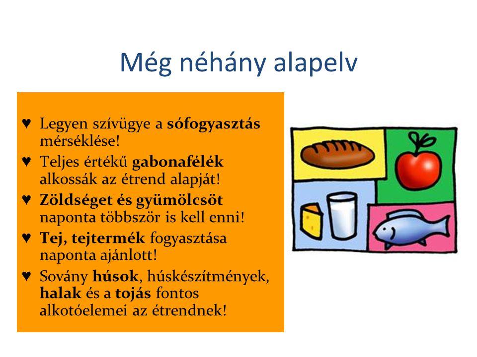 Még néhány alapelv ♥ Legyen szívügye a sófogyasztás mérséklése! ♥ Teljes értékű gabonafélék alkossák az étrend alapját! ♥ Zöldséget és gyümölcsöt napo