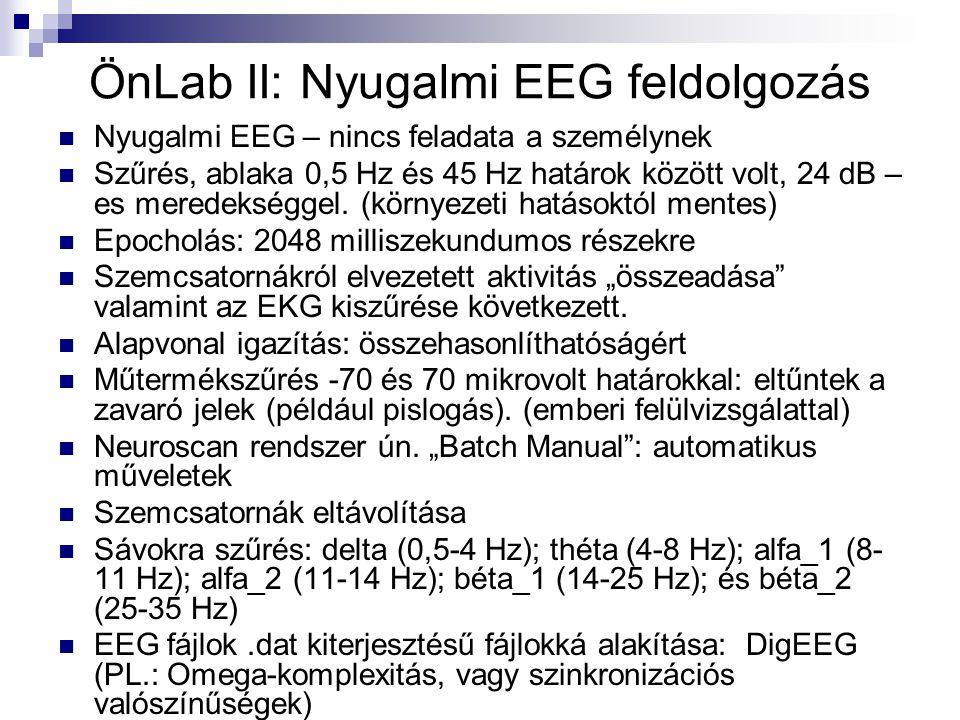 ÖnLab II: Nyugalmi EEG feldolgozás Nyugalmi EEG – nincs feladata a személynek Szűrés, ablaka 0,5 Hz és 45 Hz határok között volt, 24 dB – es meredeksé