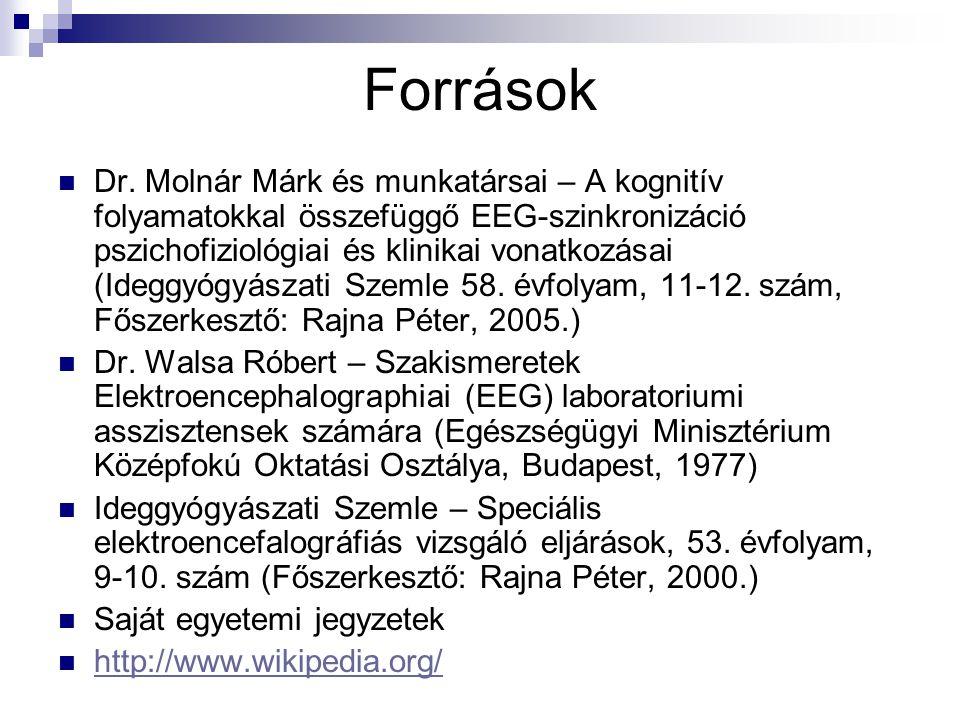 Források Dr. Molnár Márk és munkatársai – A kognitív folyamatokkal összefüggő EEG-szinkronizáció pszichofiziológiai és klinikai vonatkozásai (Ideggyóg