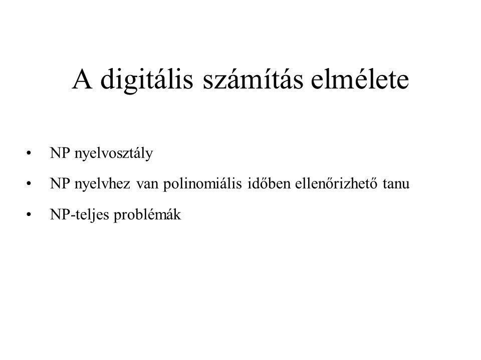 A digitális számítás elmélete NP nyelvosztály NP nyelvhez van polinomiális időben ellenőrizhető tanu NP-teljes problémák