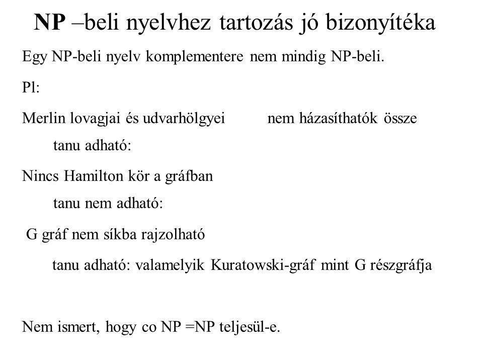 NP –beli nyelvhez tartozás jó bizonyítéka Egy NP-beli nyelv komplementere nem mindig NP-beli.