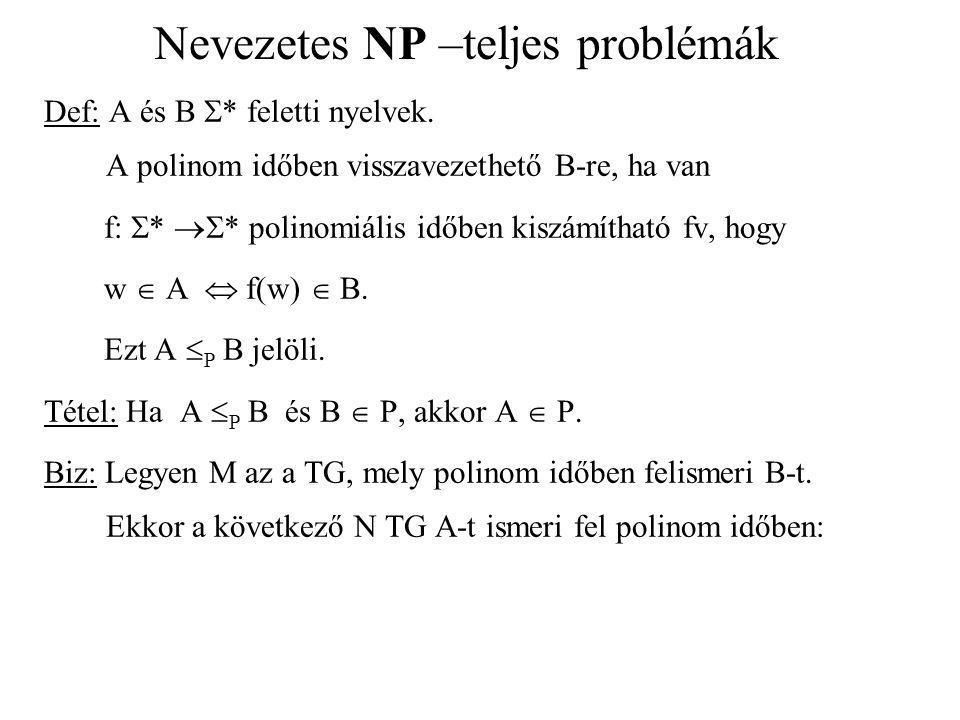 Nevezetes NP –teljes problémák Def: A és B  * feletti nyelvek. A polinom időben visszavezethető B-re, ha van f:  *  * polinomiális időben kiszámít