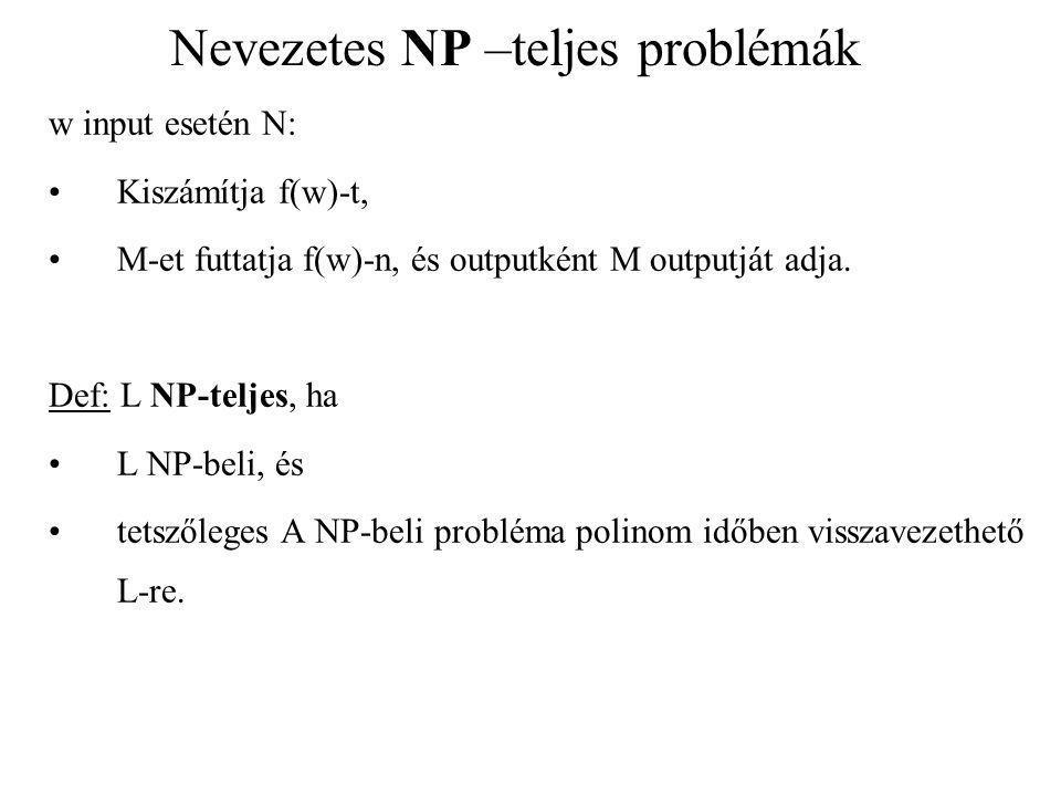Nevezetes NP –teljes problémák w input esetén N: Kiszámítja f(w)-t, M-et futtatja f(w)-n, és outputként M outputját adja. Def: L NP-teljes, ha L NP-be