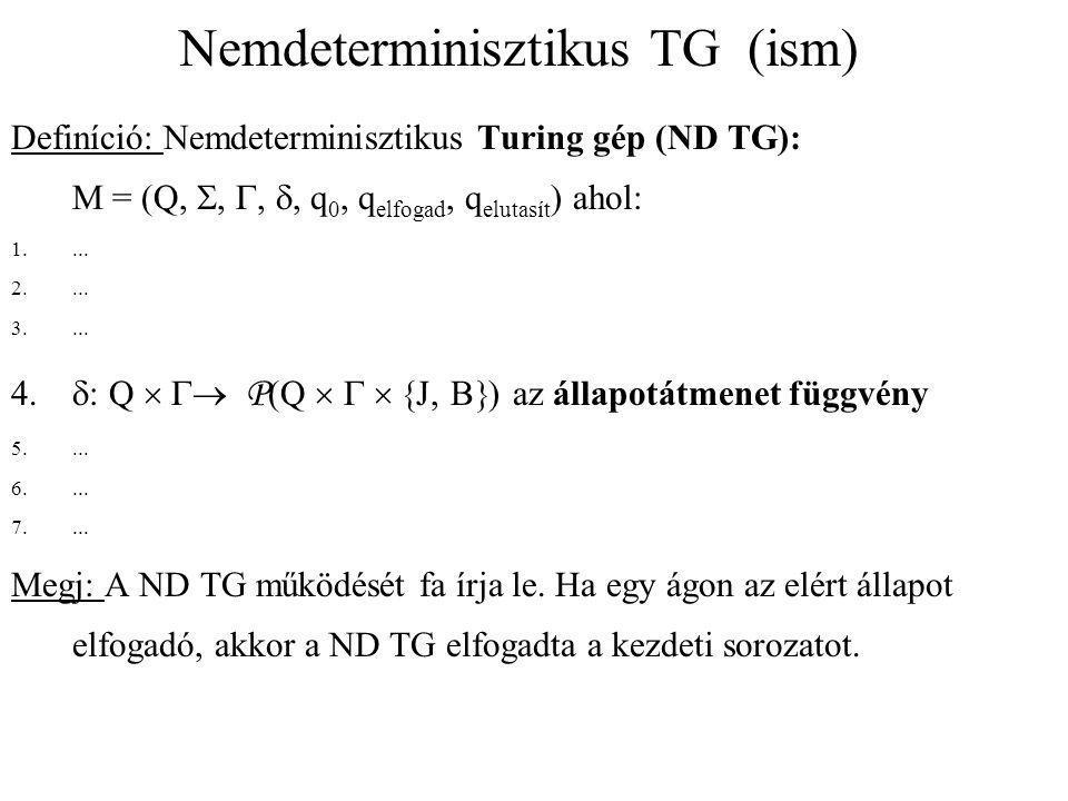 Nemdeterminisztikus TG (ism) Definíció: Nemdeterminisztikus Turing gép (ND TG): M = (Q, , , , q 0, q elfogad, q elutasít ) ahol: 1.... 2.... 3....