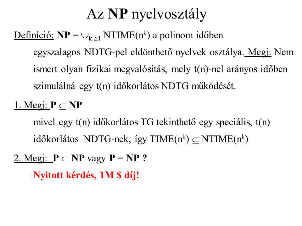 Az NP nyelvosztály Definíció: NP =  k  1 NTIME(n k ) a polinom időben egyszalagos NDTG-pel eldönthető nyelvek osztálya. Megj: Nem ismert olyan fizik