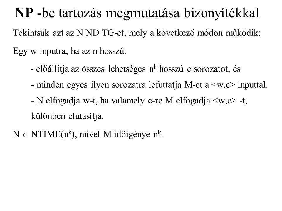 NP -be tartozás megmutatása bizonyítékkal Tekintsük azt az N ND TG-et, mely a következő módon működik: Egy w inputra, ha az n hosszú: - előállítja az összes lehetséges n k hosszú c sorozatot, és - minden egyes ilyen sorozatra lefuttatja M-et a inputtal.