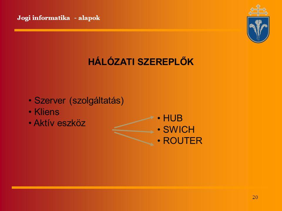 20 HÁLÓZATI SZEREPLŐK Szerver (szolgáltatás) Kliens Aktív eszköz HUB SWICH ROUTER Jogi informatika - alapok