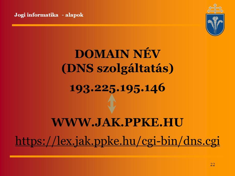 22 DOMAIN NÉV (DNS szolgáltatás) 193.225.195.146 WWW.JAK.PPKE.HU https://lex.jak.ppke.hu/cgi-bin/dns.cgi Jogi informatika - alapok