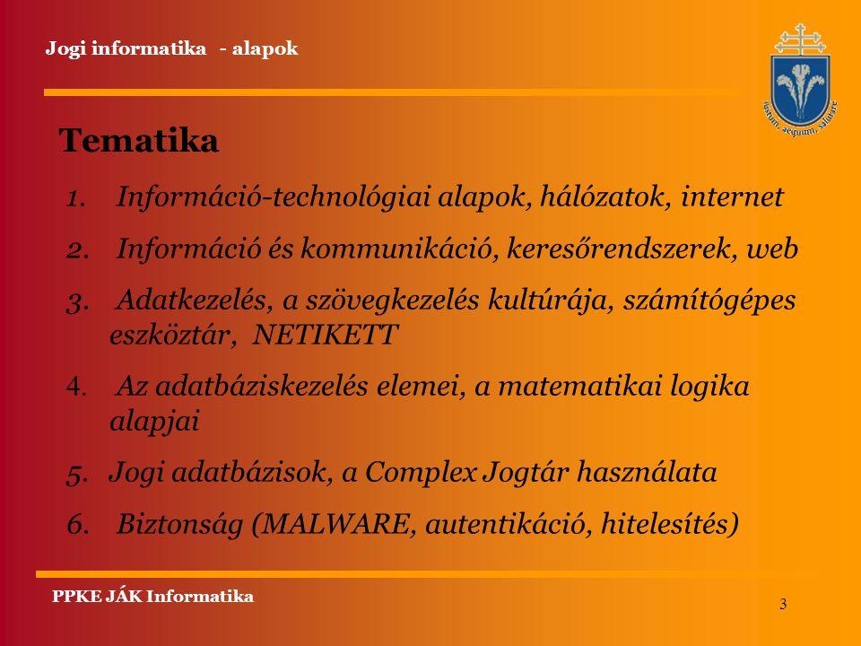 3 PPKE JÁK Informatika Jogi informatika - alapok Tematika 1. Információ-technológiai alapok, hálózatok, internet 2. Információ és kommunikáció, kereső