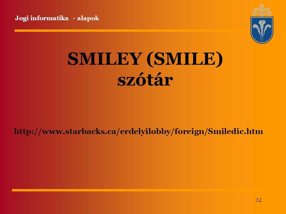 32 http://www.starbacks.ca/erdelyilobby/foreign/Smiledic.htm Jogi informatika - alapok SMILEY (SMILE) szótár