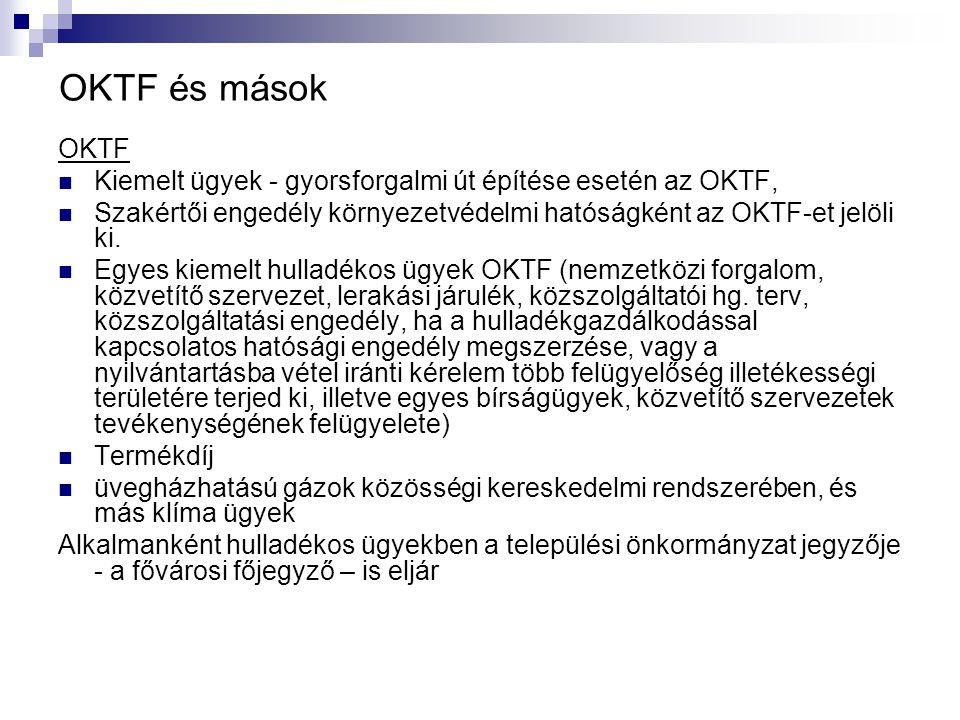 OKTF és mások OKTF Kiemelt ügyek - gyorsforgalmi út építése esetén az OKTF, Szakértői engedély környezetvédelmi hatóságként az OKTF-et jelöli ki. Egye
