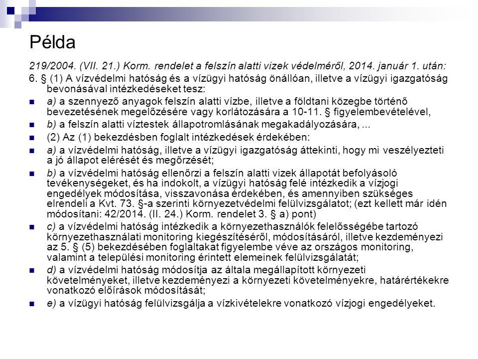Példa 219/2004. (VII. 21.) Korm. rendelet a felszín alatti vizek védelméről, 2014. január 1. után: 6. § (1) A vízvédelmi hatóság és a vízügyi hatóság