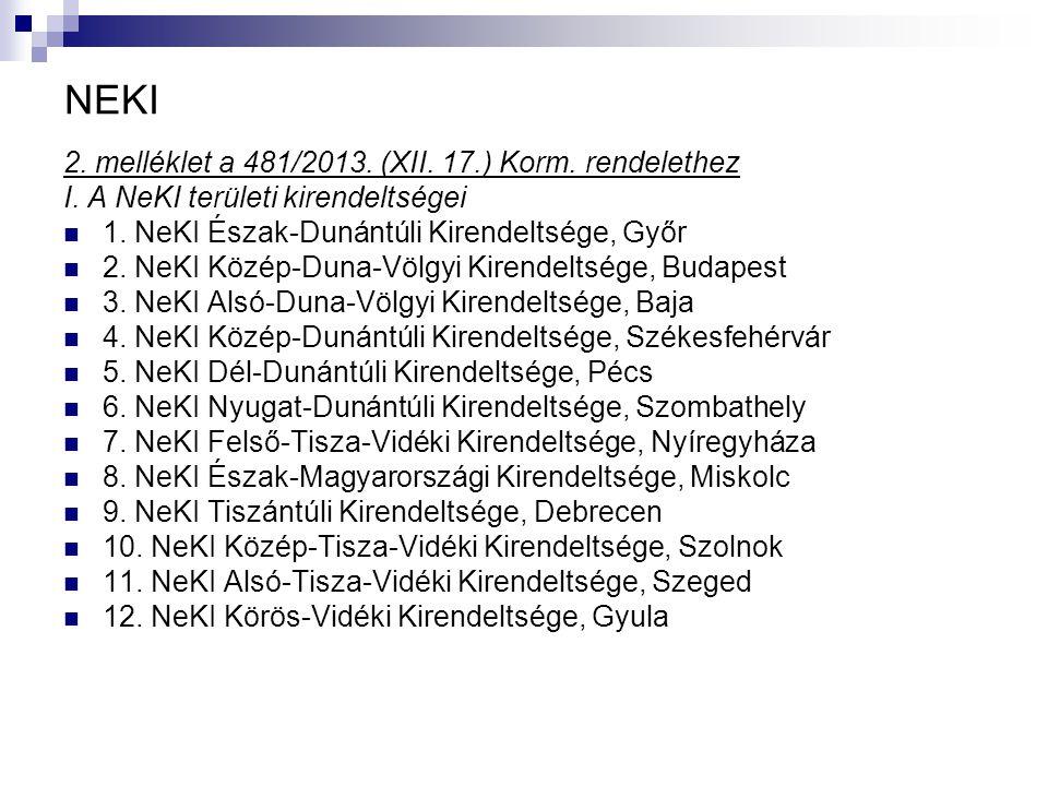 NEKI 2. melléklet a 481/2013. (XII. 17.) Korm. rendelethez I. A NeKI területi kirendeltségei 1. NeKI Észak-Dunántúli Kirendeltsége, Győr 2. NeKI Közép