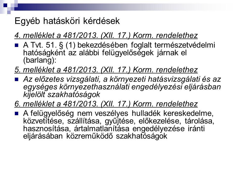 Egyéb hatásköri kérdések 4. melléklet a 481/2013. (XII. 17.) Korm. rendelethez A Tvt. 51. § (1) bekezdésében foglalt természetvédelmi hatóságként az a