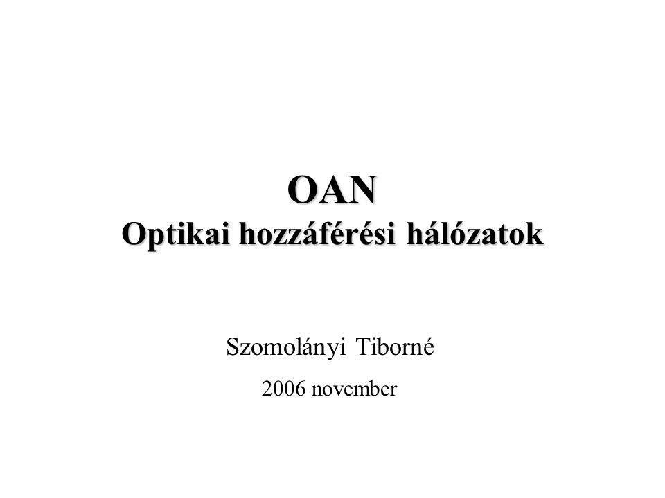 Aktív optikai hálózatok (AON) AON, ha a fényvezető nyomvonalon bármilyen hálózati eszköz üzemel (regenerátor, erősítő, leágazó v.