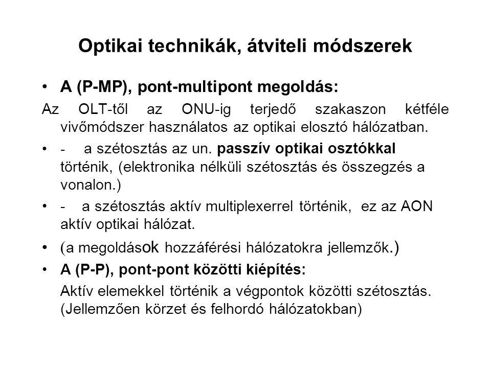 Optikai technikák, átviteli módszerek A (P-MP), pont-multipont megoldás: Az OLT-től az ONU-ig terjedő szakaszon kétféle vivőmódszer használatos az opt