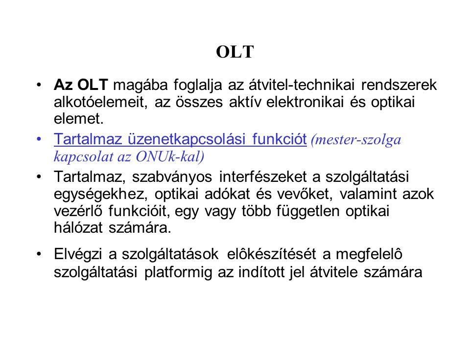OLT Az OLT magába foglalja az átvitel-technikai rendszerek alkotóelemeit, az összes aktív elektronikai és optikai elemet. Tartalmaz üzenetkapcsolási f
