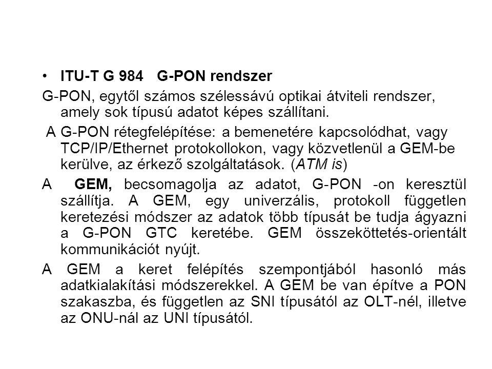 ITU-T G 984 G-PON rendszer G-PON, egytől számos szélessávú optikai átviteli rendszer, amely sok típusú adatot képes szállítani. A G-PON rétegfelépítés