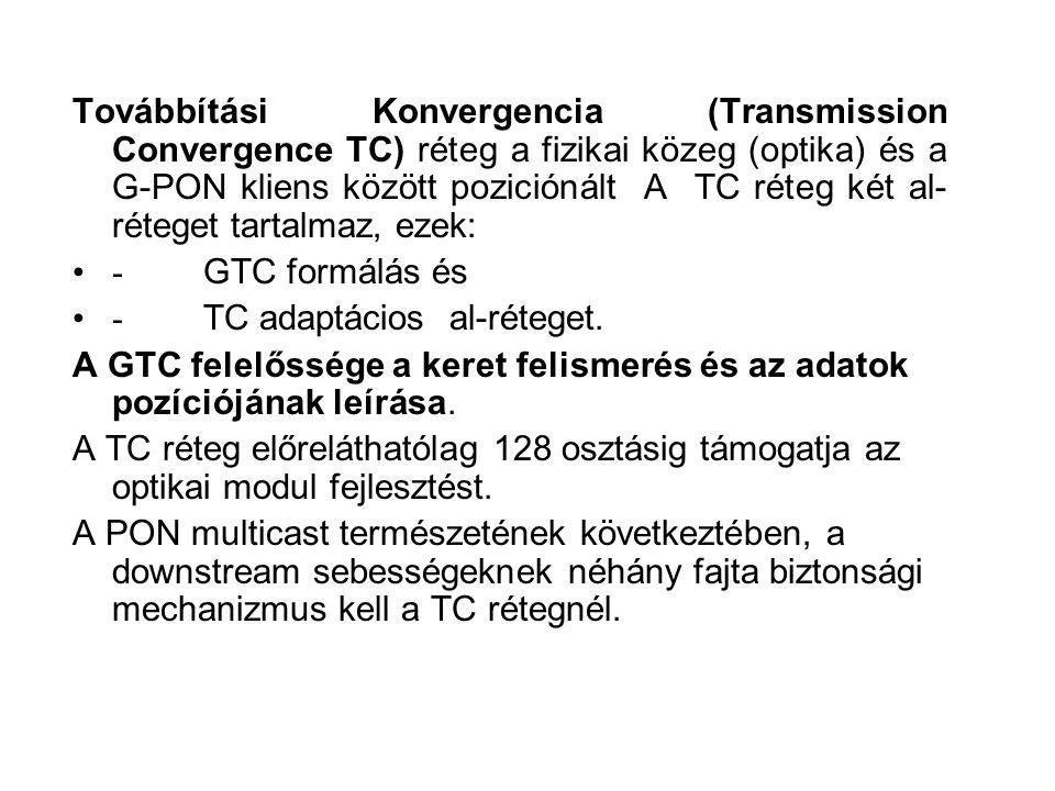 Továbbítási Konvergencia (Transmission Convergence TC) réteg a fizikai közeg (optika) és a G-PON kliens között poziciónált A TC réteg két al- réteget