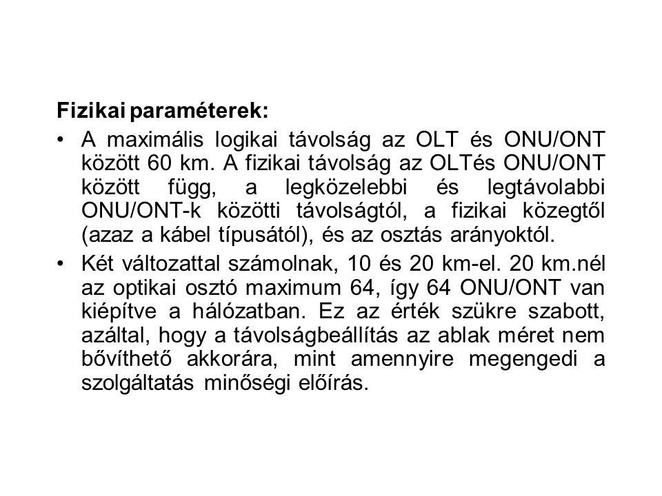 Fizikai paraméterek: A maximális logikai távolság az OLT és ONU/ONT között 60 km. A fizikai távolság az OLTés ONU/ONT között függ, a legközelebbi és l