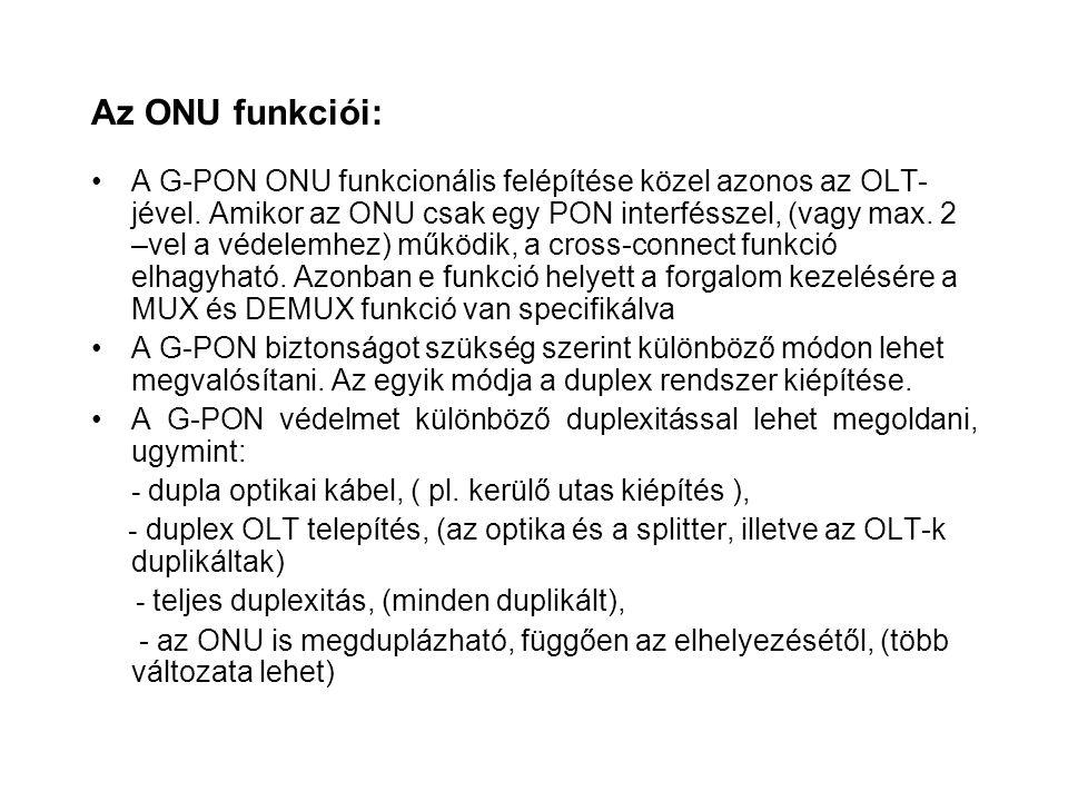 Az ONU funkciói: A G-PON ONU funkcionális felépítése közel azonos az OLT- jével. Amikor az ONU csak egy PON interfésszel, (vagy max. 2 –vel a védelemh