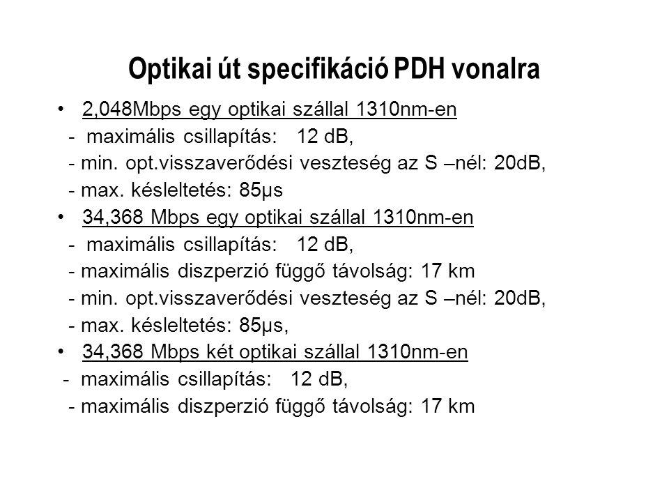Optikai út specifikáció PDH vonalra 2,048Mbps egy optikai szállal 1310nm-en - maximális csillapítás: 12 dB, - min. opt.visszaverődési veszteség az S –