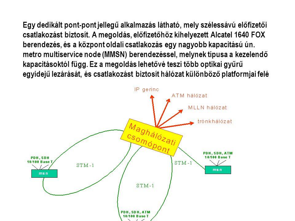 Egy dedikált pont-pont jellegű alkalmazás látható, mely szélessávú előfizetői csatlakozást biztosít. A megoldás, előfizetőhöz kihelyezett Alcatel 1640