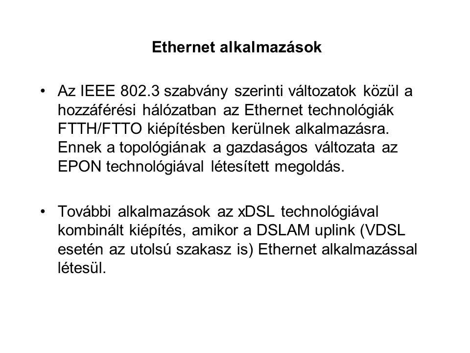 Ethernet alkalmazások Az IEEE 802.3 szabvány szerinti változatok közül a hozzáférési hálózatban az Ethernet technológiák FTTH/FTTO kiépítésben kerülne