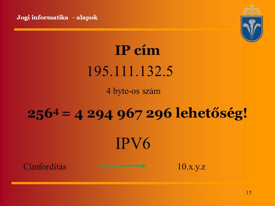 15 IP cím Jogi informatika - alapok 195.111.132.5 4 byte-os szám IPV6 Címfordítás 10.x.y.z 256 4 = 4 294 967 296 lehetőség!