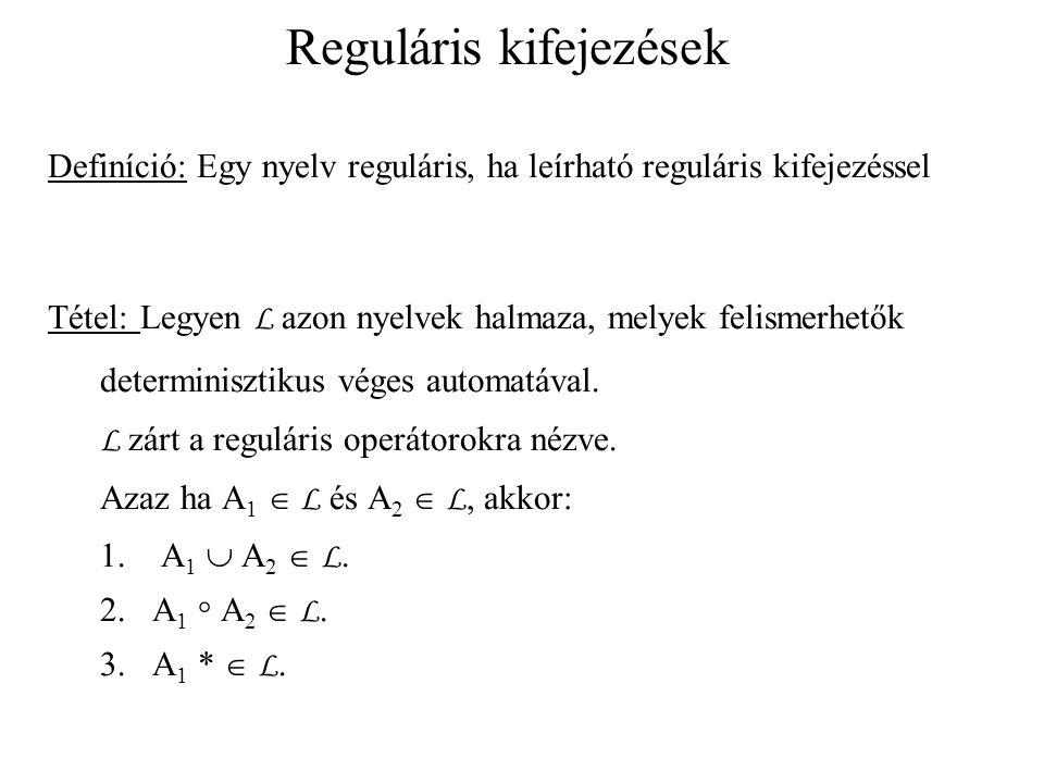 Reguláris kifejezések Definíció: Egy nyelv reguláris, ha leírható reguláris kifejezéssel Tétel: Legyen L azon nyelvek halmaza, melyek felismerhetők determinisztikus véges automatával.