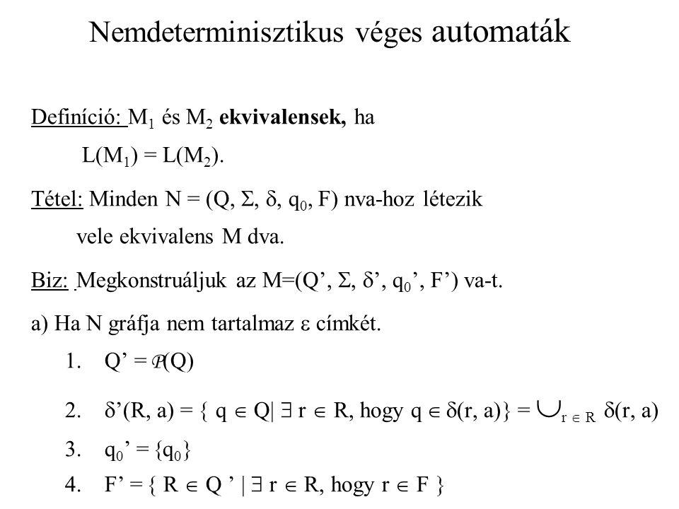 Nemdeterminisztikus véges automaták Definíció: M 1 és M 2 ekvivalensek, ha L(M 1 ) = L(M 2 ). Tétel: Minden N = (Q, , , q 0, F) nva-hoz létezik vele