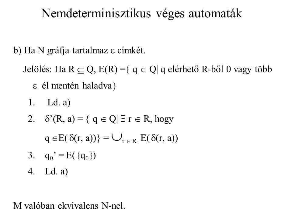 Nemdeterminisztikus véges automaták b) Ha N gráfja tartalmaz  címkét. Jelölés: Ha R  Q, E(R) =  q  Q  q elérhető R-ből 0 vagy több  él mentén h