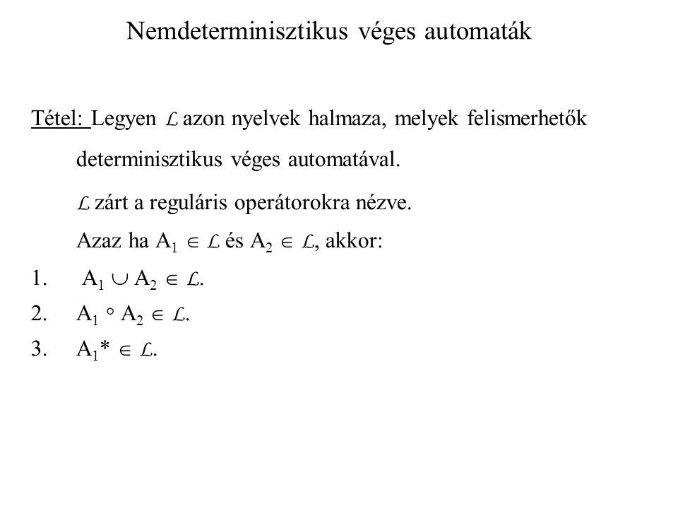 Nemdeterminisztikus véges automaták Tétel: Legyen L azon nyelvek halmaza, melyek felismerhetők determinisztikus véges automatával. L zárt a reguláris